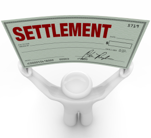 Man Holding Big Settlement Check Agreement Money