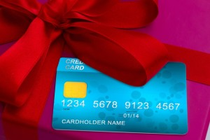 close up of credit cards on gift box